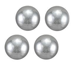 Set of 4 Mirror Finish Decorative Balls Metallic Silver Glass Spheres 6 in.