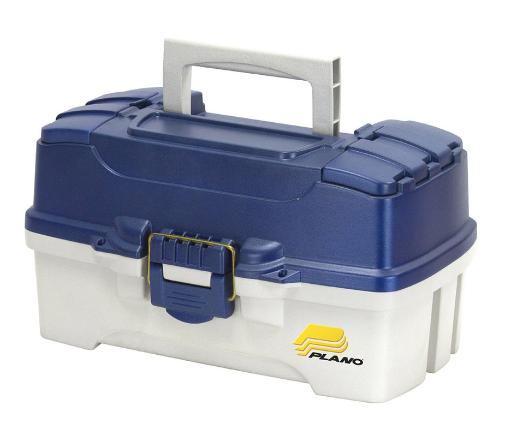 Frabill 620206 frabilltwo-tray blue tackle box – blue metallic/off-white
