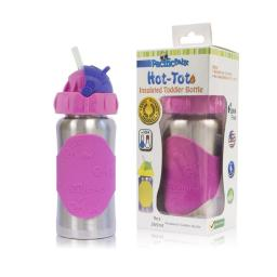 Pacific Baby 224 9 oz Hot-Tot Insulated Toddler Bottle, Silver Pink