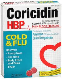 Coricidin Hbp Tablets Cold And Flu - 20 Ct, Pack Of 3