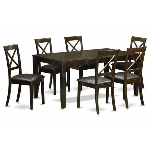 East West Furniture LYBO7-CAP-LC 7 Piece Dining Room Set For 6-Dining Table With Leaf and 6 Dining Chairs