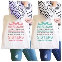 God Made Us BFF Matching Canvas Bags Natural Cute Gifts For Sisters