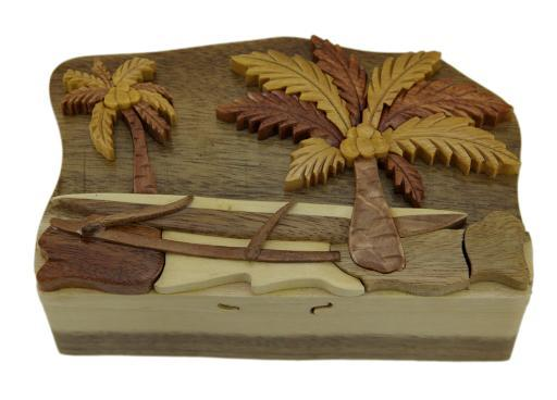 Tropical Palm Trees Hand Crafted Wooden Puzzle/Trinket Box 60DA1DC9CF38D00D