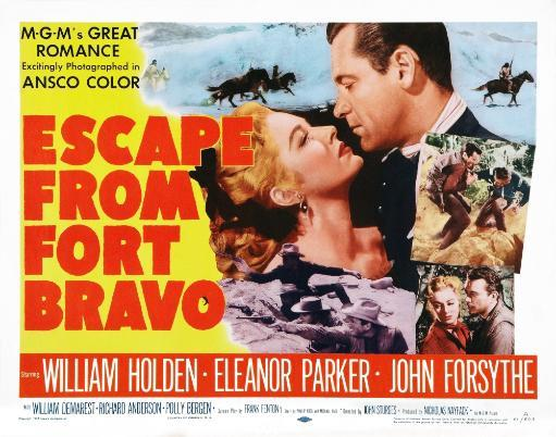 Escape From Fort Bravo Us Poster Art Top From Left: Eleanor Parker William Holden; Bottom Right Inset: Eleanor Parker John Forsythe 1953. Movie. KERZF8UC2E5PU0QF