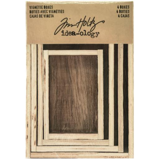 Idea-Ology Wooden Vignette Boxes 4/Pkg-Brown