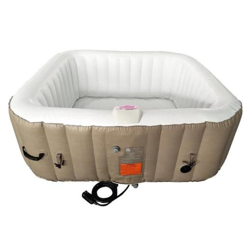 Aleko HTISQ6BRWH-UNB 250 gal Square Inflatable Hot Tub Spa with Cover, Brown & White - 6 Person