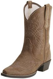 Ariat Western Boots Girls Tribute Leather Stitch Detail Tawny 10015387