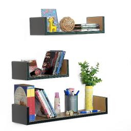 Gray Space U-Shaped Leather Wall Shelf / Bookshelf / Floating Shelf (Set of 3)