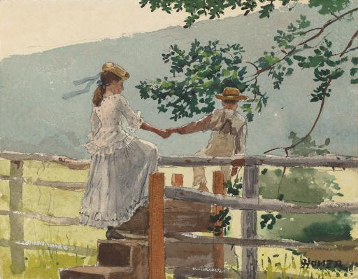 On The Stile, By Winslow Homer, 1878, American Painting, Watercolor, Graphite On Paper. Boy And Girl Hold Hands As They Pass Over A Farm Fence On.
