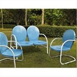 Crosley Furniture KO10002BL Griffith 3 Piece Metal Outdoor Conversation Seating Set - Loveseat and 2 Chairs in Sky Blue Finish