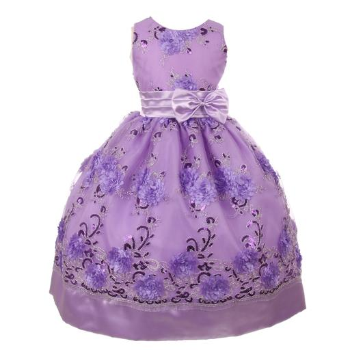 709b230066ba1 Shanil Inc. Little Girls Lilac Floral Sequin Bow Adorned Flower Girl ...