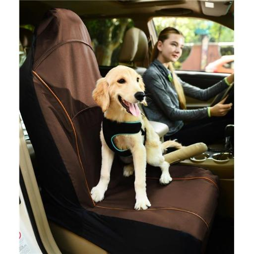 Pet Life CRT1BR Open Road Mess Free Single Seated Safety Car Seat Cover Protector, Brown - One Size