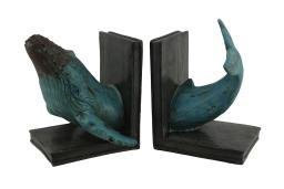 Humpback Whale Top and Tail Distressed Blue Finish Bookends Set of 2