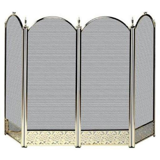 Uniflame S-2115 4 Fold Polished Brass Screen With Decorative Filigree