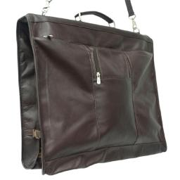 Piel 9428-CHC Leather Garment Bag with Detachable Hook - Chocolate