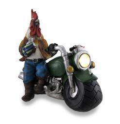 Country Rooster Resting On Motorcycle LED Solar Accent Light