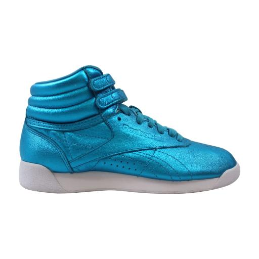 427465b9292 Reebok Classic Freestyle Hi Metallic Feather Blue White Womens Shoes CN0959