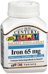 21st Century Iron 65 Mg With Ferrous Sulfate 325 Mg - 100 Tablets, Pack Of 4