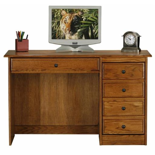 Eagle Furniture 10153WPDK Classic Oak Single-Pedestal Computer Desk, Dark Oak
