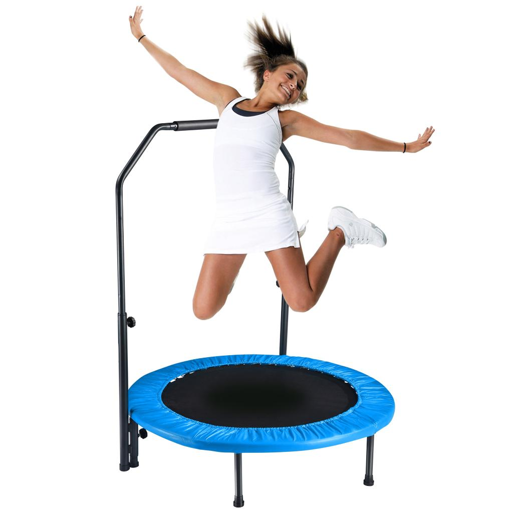 """Yescom 40"""" Exercise Trampoline Jumping Mat Adjustable Handle Home Gym Fitness Cardio"""