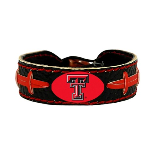 NCAA Texas Tech Red Raiders Team Color Gamewear Leather Football Bracelet