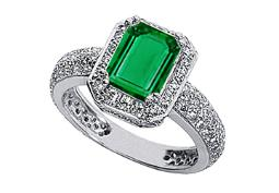 Emerald Cut Created Emerald and CZ Ring in White Gold 14K Total Gem Weight of 3 Carat