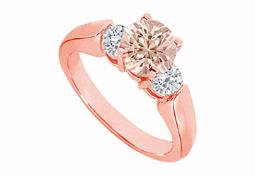 Earthy Morganite with CZs Three Stone Engagement Ring 14K Rose Gold Top Design at Fab Price