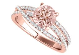 Criss Cross Design Ring with Morganite CZ in Rose Gold