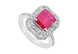 Created Ruby and Cubic Zirconia Ring 10K White Gold 3.25 Carat Total Gem Weight