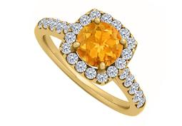 Halo Citrine Enagagement Ring with Cubic Zirconia in 14K Yellow Gold
