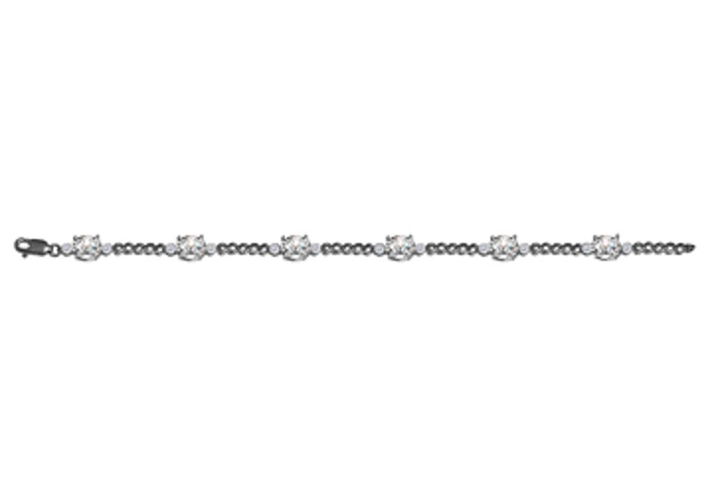 14K White Gold Diamond CZ Chain Bracelet Lobster Clasp