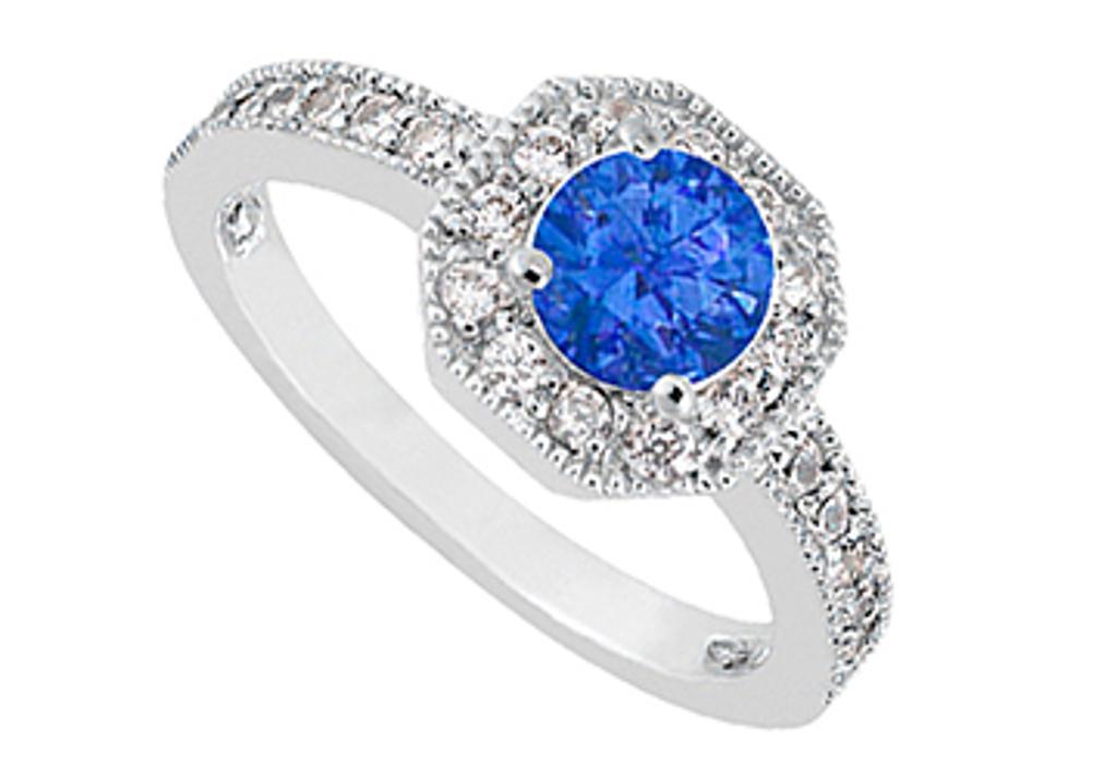 14K White Gold Diamond Milgrain Engagement Ring with Blue Sapphire of 0.85 Carat TGW