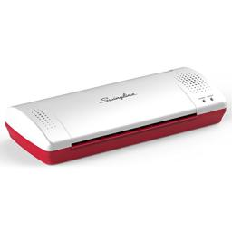 "Swingline Laminator, Thermal, Inspire Plus Lamination Machine, 9"" Max Width, Quick Warm-Up, Includes Laminating Pouches, White / Red (1701864ECR)"