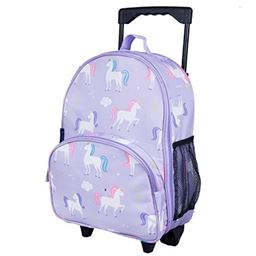 Wildkin Rolling Luggage, Features Telescopic Top Grab Handle with Convenient Extras, Olive Kids Design - Unicorn, One Size