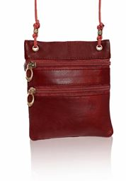 AFONiE Multiple Compartments Zipper Closure Cross Body Bag Handbag