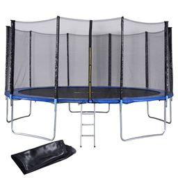 15 ft Trampoline Combo w/ Safety Enclosure Net  Spring Pad  Ladder & Rain Cover