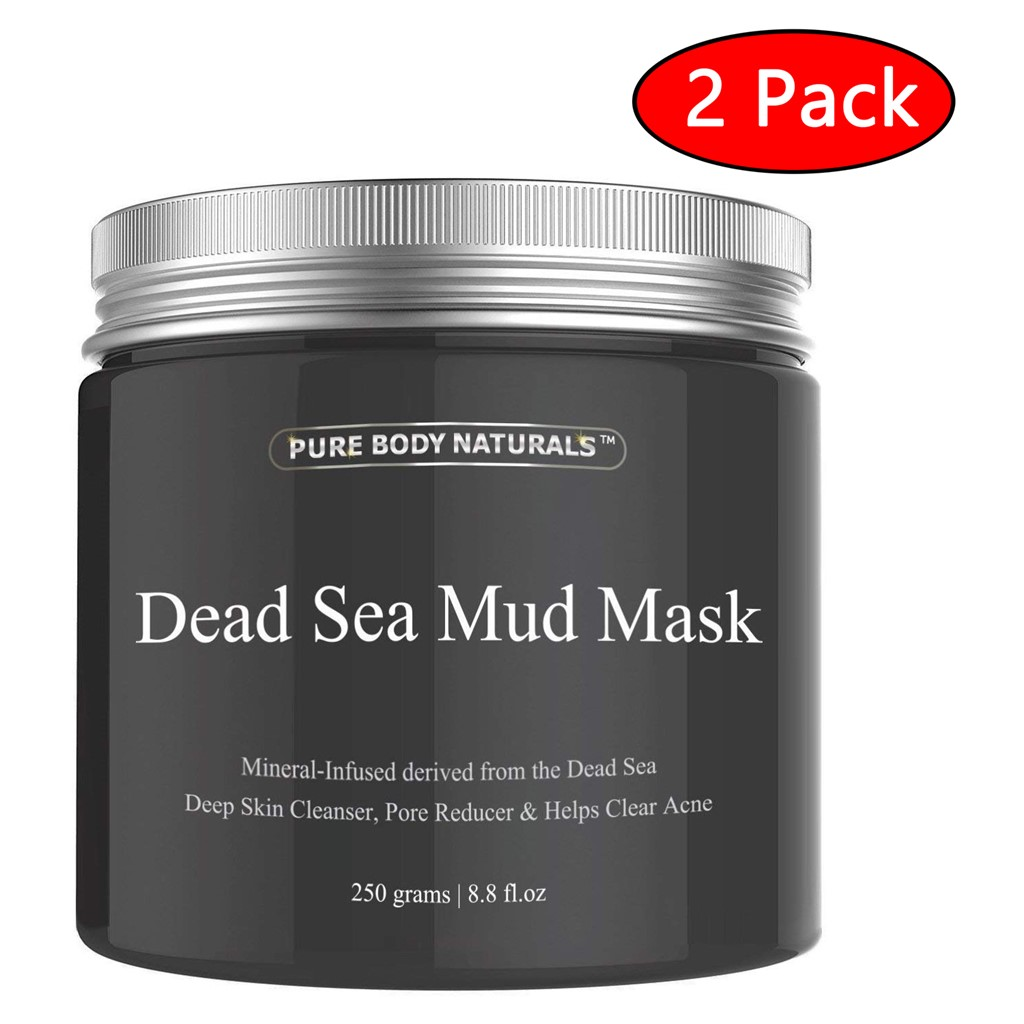 2 Pack Pure Body Naturals Dead Sea Mud Face Mask 8.8 oz Purifying Mask for Acne, Blackheads, and Oily Skin