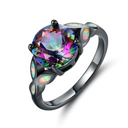 Black Rhodium Plated 4CCTW Round-cut Rainbow Topaz & Fire Opal Engagement Ring - Size 5