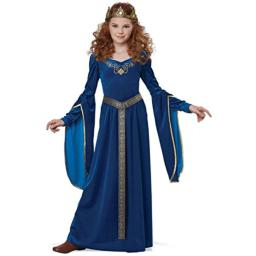 California Costumes Queen, Royalty, Renaissance, Knight Medieval Princess Girls Costume, Teal, Large