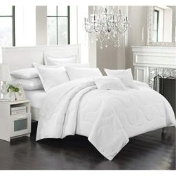 Chic Home Donna 7 Piece Comforter Set Minimalist Solid Color Design with Pillows Shams, Queen White