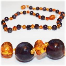 Certified Baltic Amber Teething Necklace for Baby (Amethyst/Honey) - Anti-inflammatory …