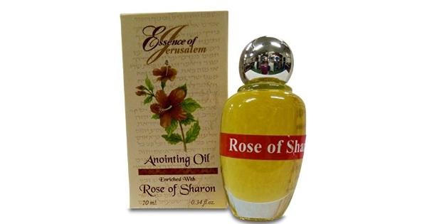Rose of Sharon Jerusalem Anointing Oil 0.34 fl.oz from the Land of the Bible This Anointing Oil is made in Israel the land of the Bible. 0.34 fl.oz. Based on natural galilee and Jerusalem Virgin Olive Oils and scented with flowers and Herbs essences mentioned in the Bible.