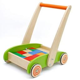 london-kate Deluxe Children's Roll Cart with Blocks - Wooden Push and Pull Toy Activity Baby Walker