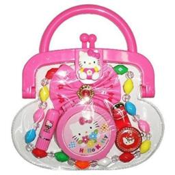 Hello Kitty Purse with Necklace, Mirror, Lipstick & Other Accessories