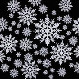 100 Pieces Plastic White Snowflakes Ornaments for Christmas Decoration DIY Craft Holiday Party Home Decoration Assorted Sizes