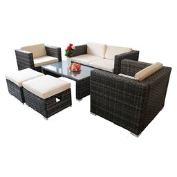 6 pcs Outdoor Rattan Sofa Set Sectional Furniture