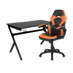 Offex Black Gaming Desk and Orange/Black Racing Chair Set with Cup Holder, Headphone Hook & 2 Wire Management Holes