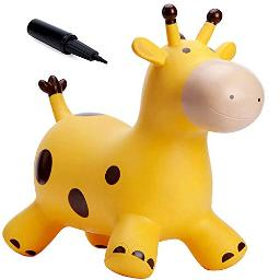 Babe Fairy Giraffe Bouncy Horse Hopper For Toddlersjumping Horse Bouncy Buddiesinflatable Bouncy Animals Hopping Toys With Pumpgift For 18 Months 2 3 4 Year Old Kid Girl Boy(W Pump)