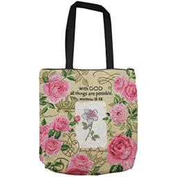 """African American Expressions - With God Roses Woven Tote Bag (Cotton Blend, 17"""" x 17"""") WTB-06"""