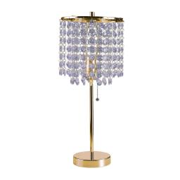 Contemporary Style Table Lamp with Stalk Support and Round Base, Gold